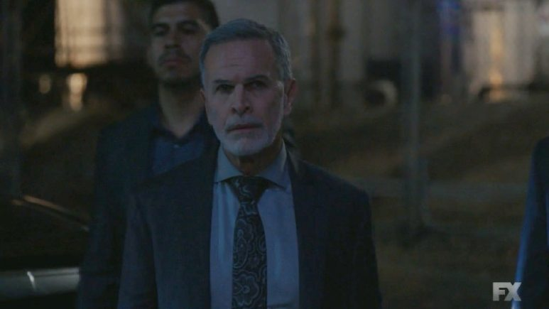 Still Image from Mayans M.C. Serpiente/Chikchan. After Miguel confronts Devante with his lie, Devante walks to his death at the hands of Adelita. Pic Credit: FX