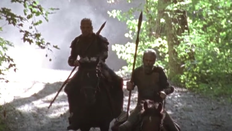 C Thomas Howell riding a horse during his cameo on The Walking Dead