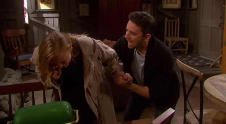 Abi goes into labor and Chad is there to lend a hand. Pic credit: NBC