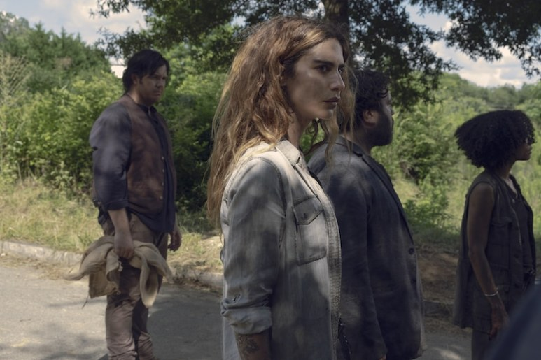 Josh McDermitt as Dr. Eugene Porter, Nadia Hilker as Magna, Lauren Ridloff as Connie, Dan Folger as Luke - The Walking Dead _ Season 9, Episode 6 - Photo Credit: Gene Page/AMC