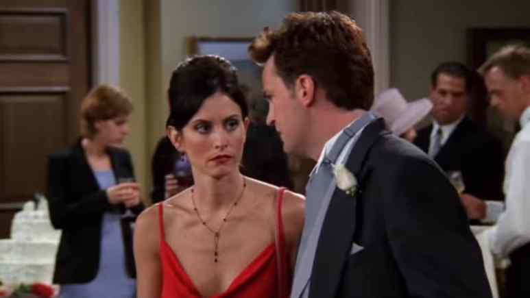 Courteney Cox and Matthew Perry as Monica and Chandler on Friends