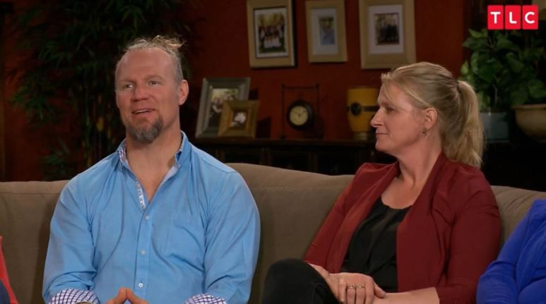 Kody's hair may be signaling mid-life crisis alert, as Christine looks to be resigned about it all. Pic credit: TLC
