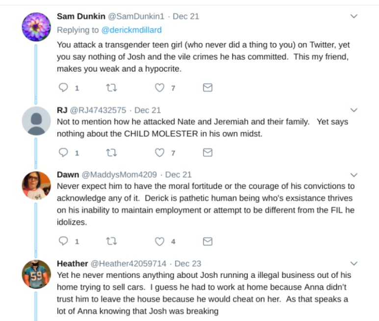 After Derick Dillard posted a Bible verse, many Twitter users took to dragging the former reality star. Pic credit: @derickmdillard/Twitter