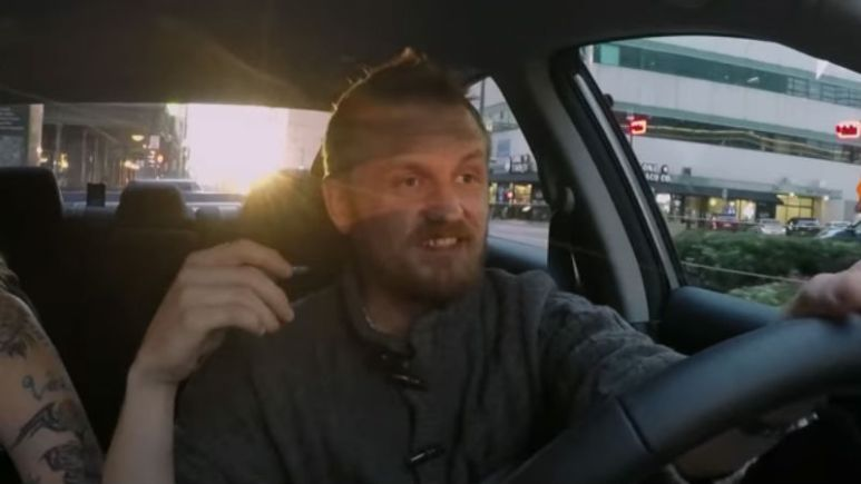 Clint driving to dinner on Love After Lockup