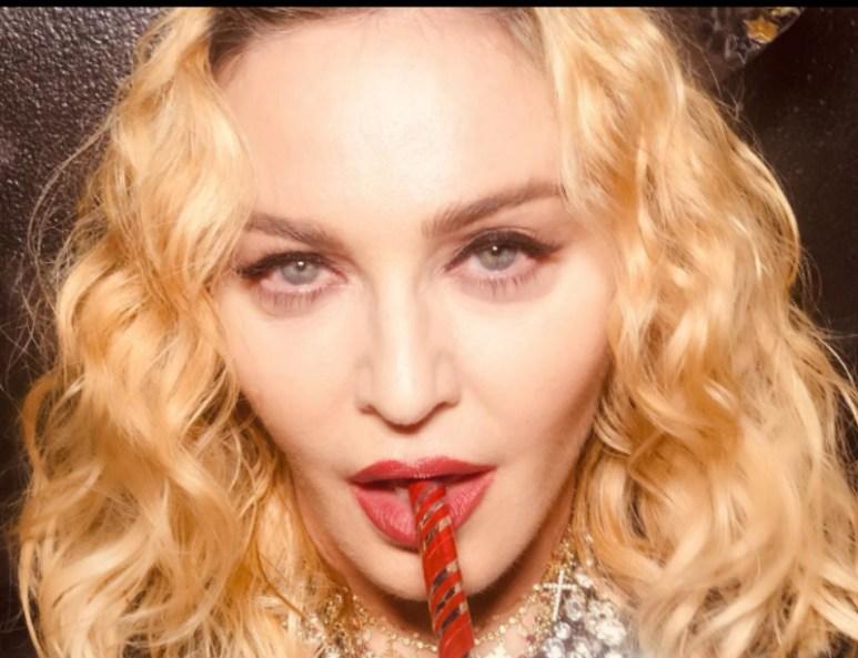 Madonna sucks a straw in an Instagram photo