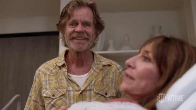 Frank Gallagher (William H. Macy) learns that he'll be a father again with Ingrid (Katey Sagal)