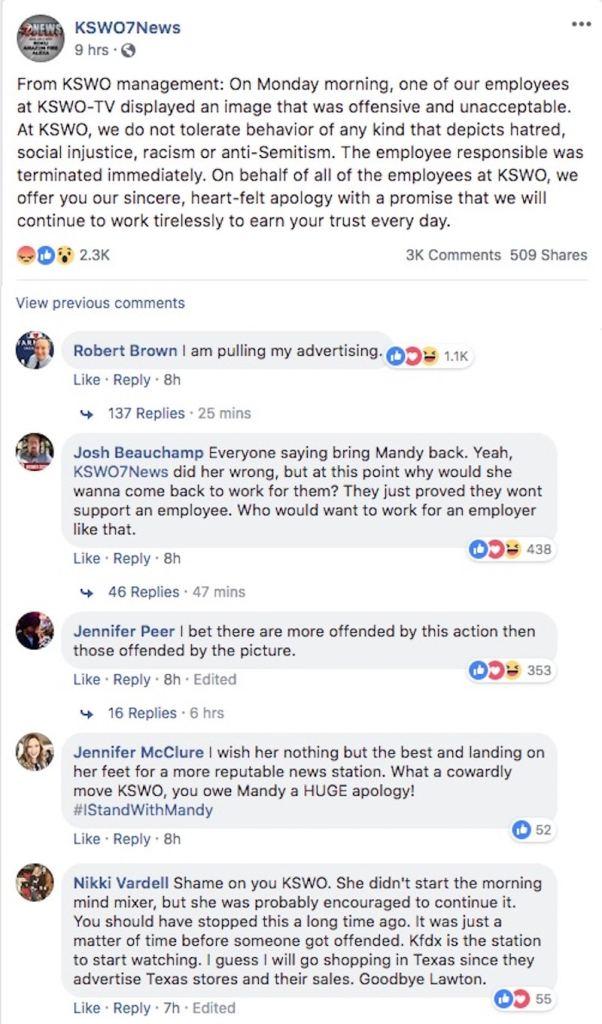 KSWO 7News's statement on Facebook