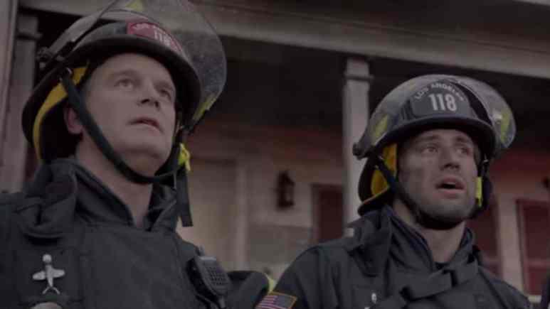 Peter Krause and Ryan Guzman as Bobby and Eddie on 9-1-1