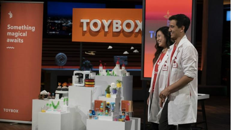 Jenn Chin and Ben Baltes present Toybox Labs on Shark Tank.