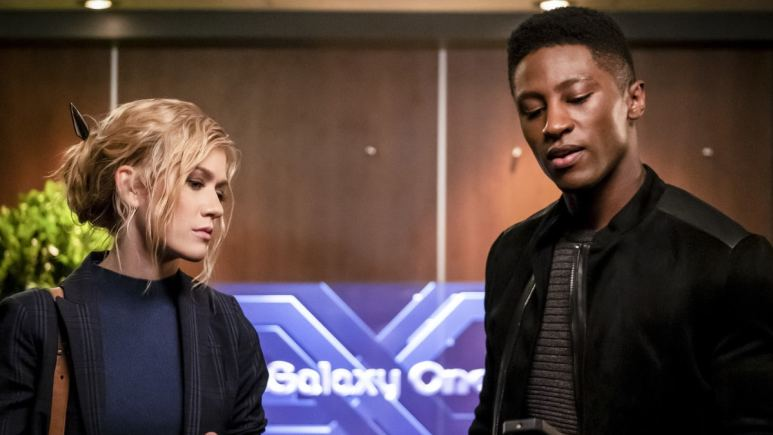 "Katherine McNamara as Mia Smoak and Joseph David Jones as Connor Hawke in the Arrow episode ""Star City 2040."""