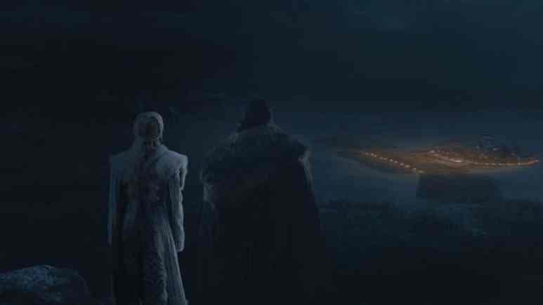 HBO's 'Game of Thrones,' Season 8, Episode 3. Emilia Clarke as Daenerys Targaryen and Kit Harington as Jon Snow