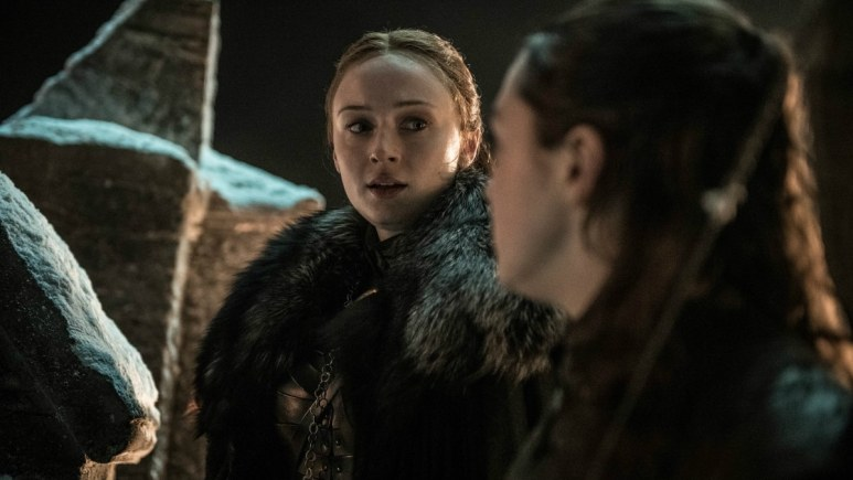HBO's 'Game of Thrones,' Season 8, Episode 3. Sophie Turner as Sansa Star and Maisie Williams as Arya Stark