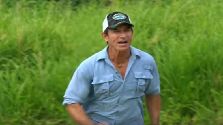 Survivor host Jeff Probst runs to help a castaway during Edge of Extinction