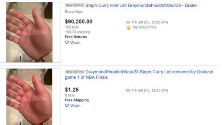 Steph Curry's hair lint on eBay