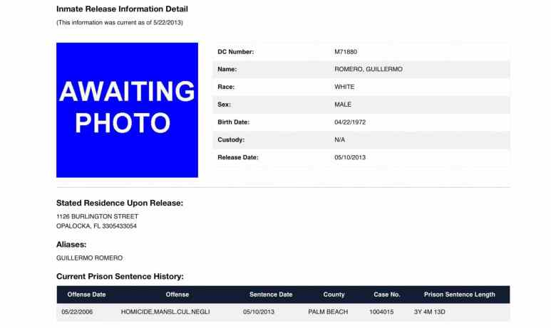 Inmate release document