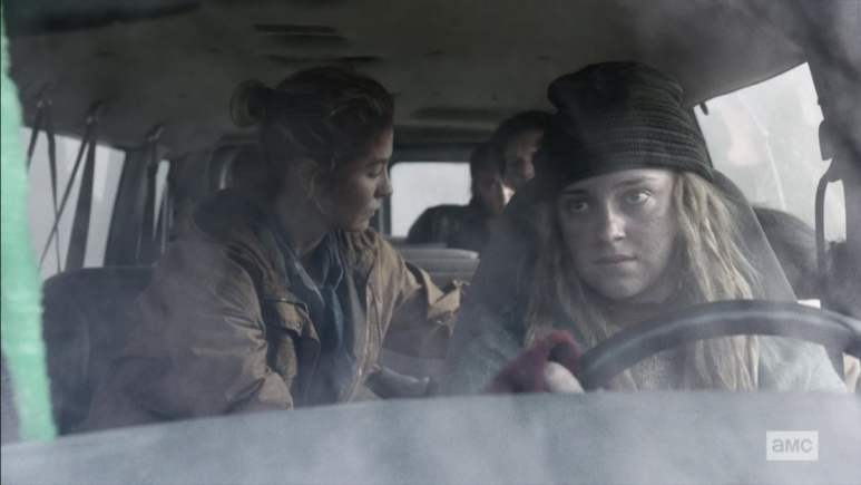 The group escapes the wreckage on Fear the Walking Dead