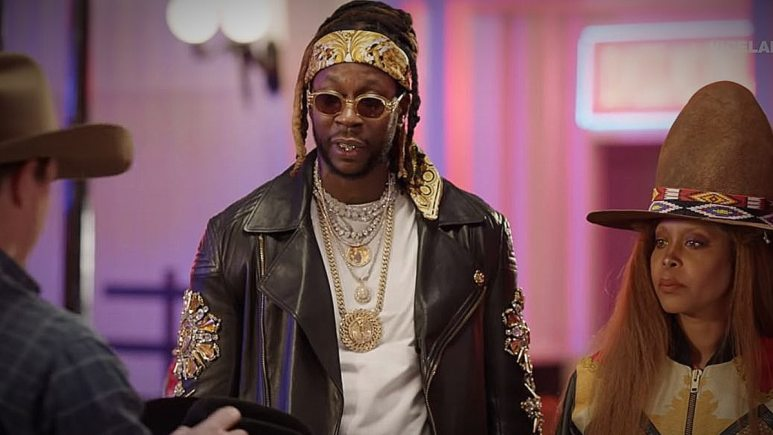 2 Chainz and Erykah Badu deadpan and get sly jokes in during the Stetson segment.