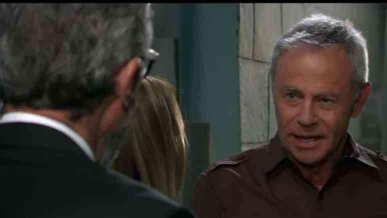 John York and Tristan Rogers as Mac and Robert Scorpio on General Hospital.