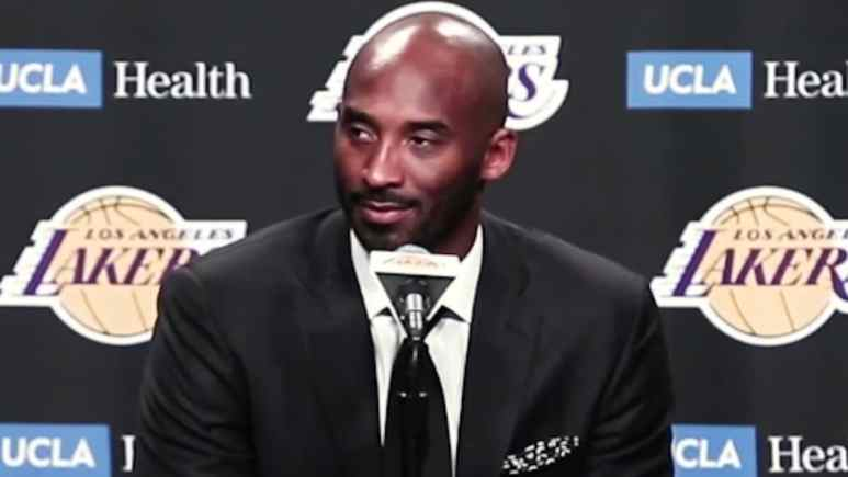 kobe bryant during a jersey retirement press conference