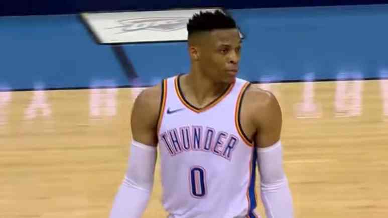 oklahoma city thunder star russell westbrook during nba game
