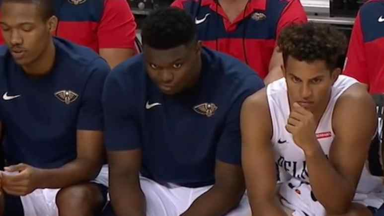zion williamson sits on bench after summer league debut