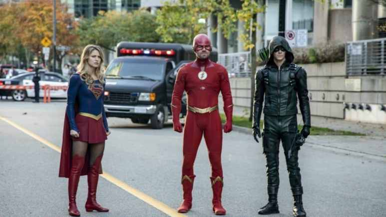 Melissa Benoist as Supergirl, Stephen Amell as The Flash, and Grant Gustin as Green Arrow in the Arrowverse crossover Elseworlds