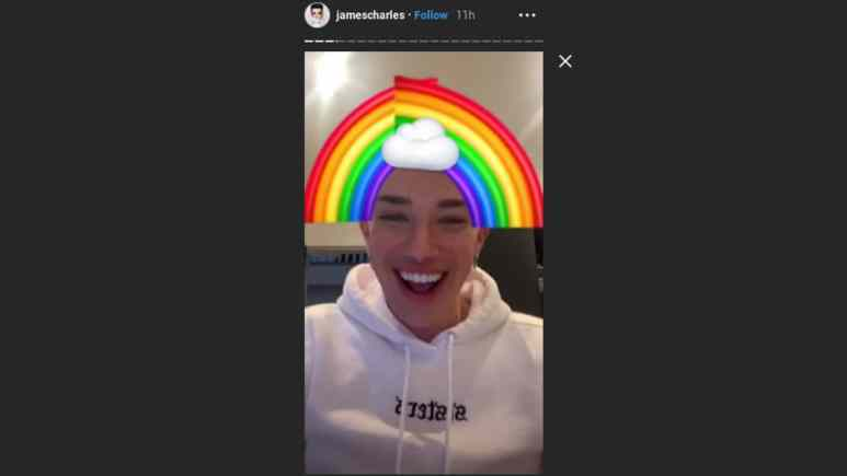 James Charles covers up his new hair with rainbow emojis