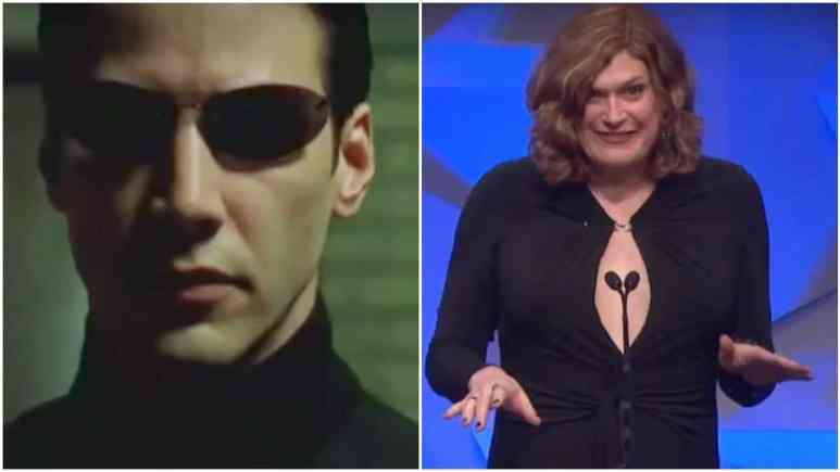Keanu Reeves from Matrix Reloaded on left and Lillly Wachowski on right