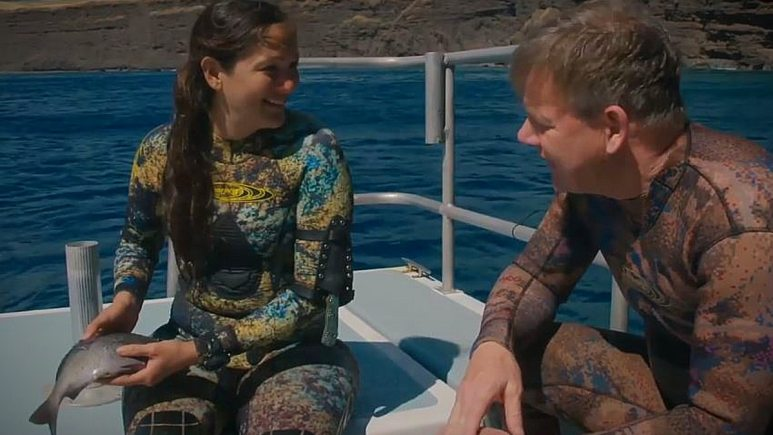 Ramsay and Kimi are successful in their spearfishing task. Pic credit: National Geographic Channel