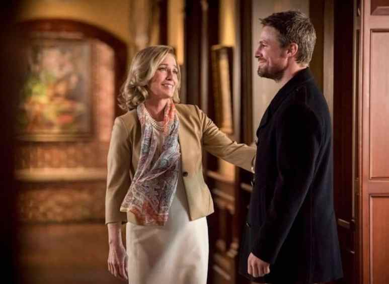 Susanna Thompson as Moira Queen and Stephen Amell as Oliver Queen/Green Arrow on Arrow