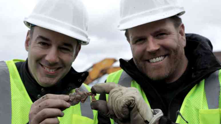 The moment of discovery with Jason and Josh Gates in Boston, a key to turn in for the treasure. Pic credit: Discovery Channel