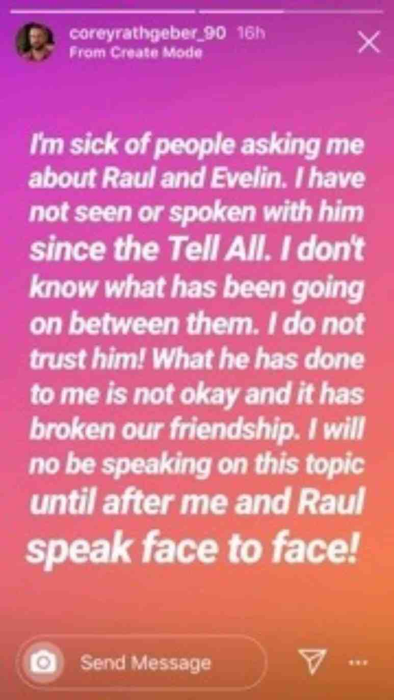 Corey Rathgeber comments on friendship with Raul