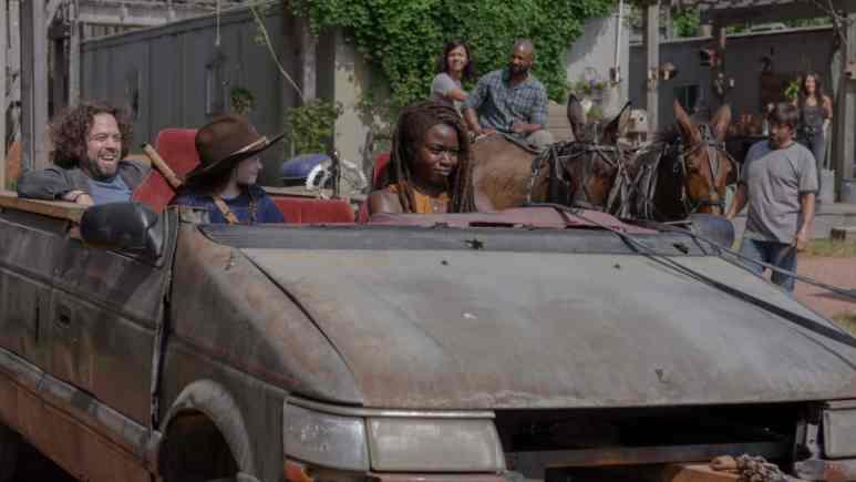 Danai Gurira as Michonne, Cailey Fleming as Judith Grimes, Dan Fogler as Luke