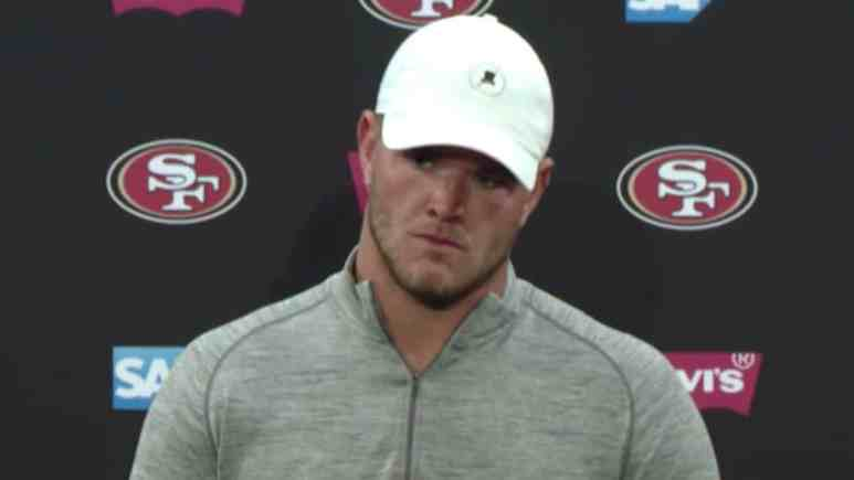 san francisco 49ers tackle mike mcglinchey speaks to media