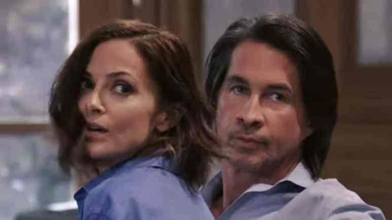 Rebecca Budig and Michael Easton as Hayden and Finn on General Hospital.