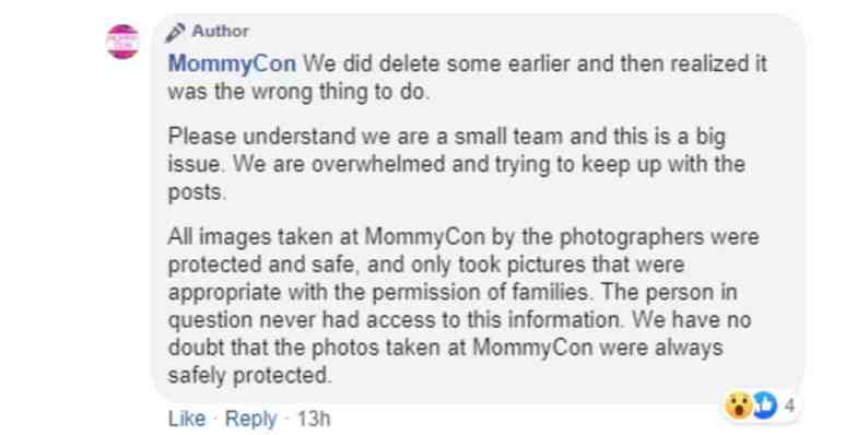 Screenshot showing comment from MommyCon regarding the deleting of posts