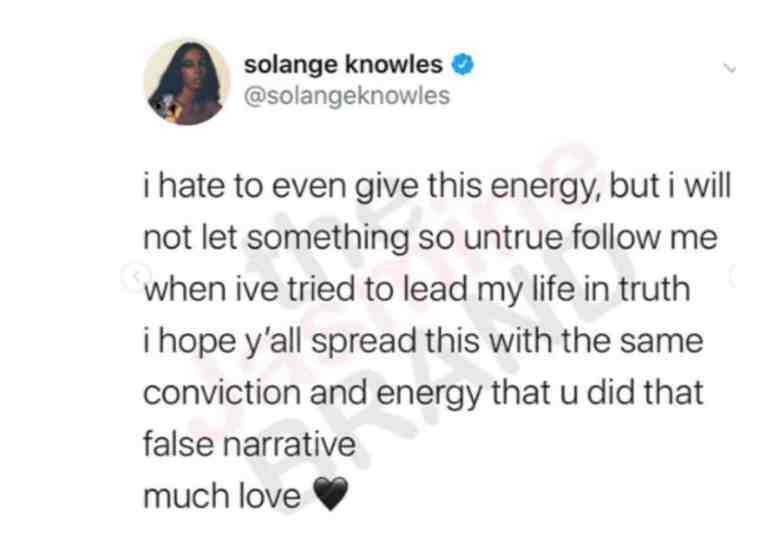 Solange Knowles denying cheating rumors