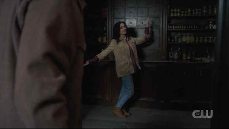 Eileen and Sam find Rowena's secret magic stash. Pic credit: The CW