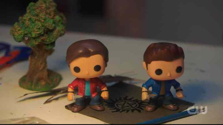 Sam and Dean as bobblehead toys in Supernatural season 15 episode 4. Pic credit: the CW