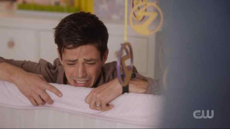 Barry Allen breaks down after seeing baby Nora. Pic credit: The CW