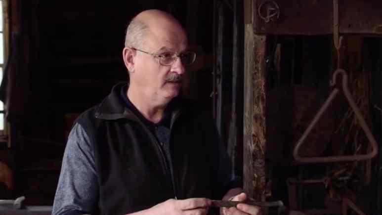 Blacksmith Carmen Legge examines the spike