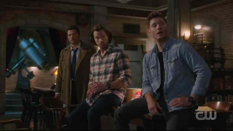 Cass, Sam, and Dean gather to make a plan against God. Pic credit: The CW