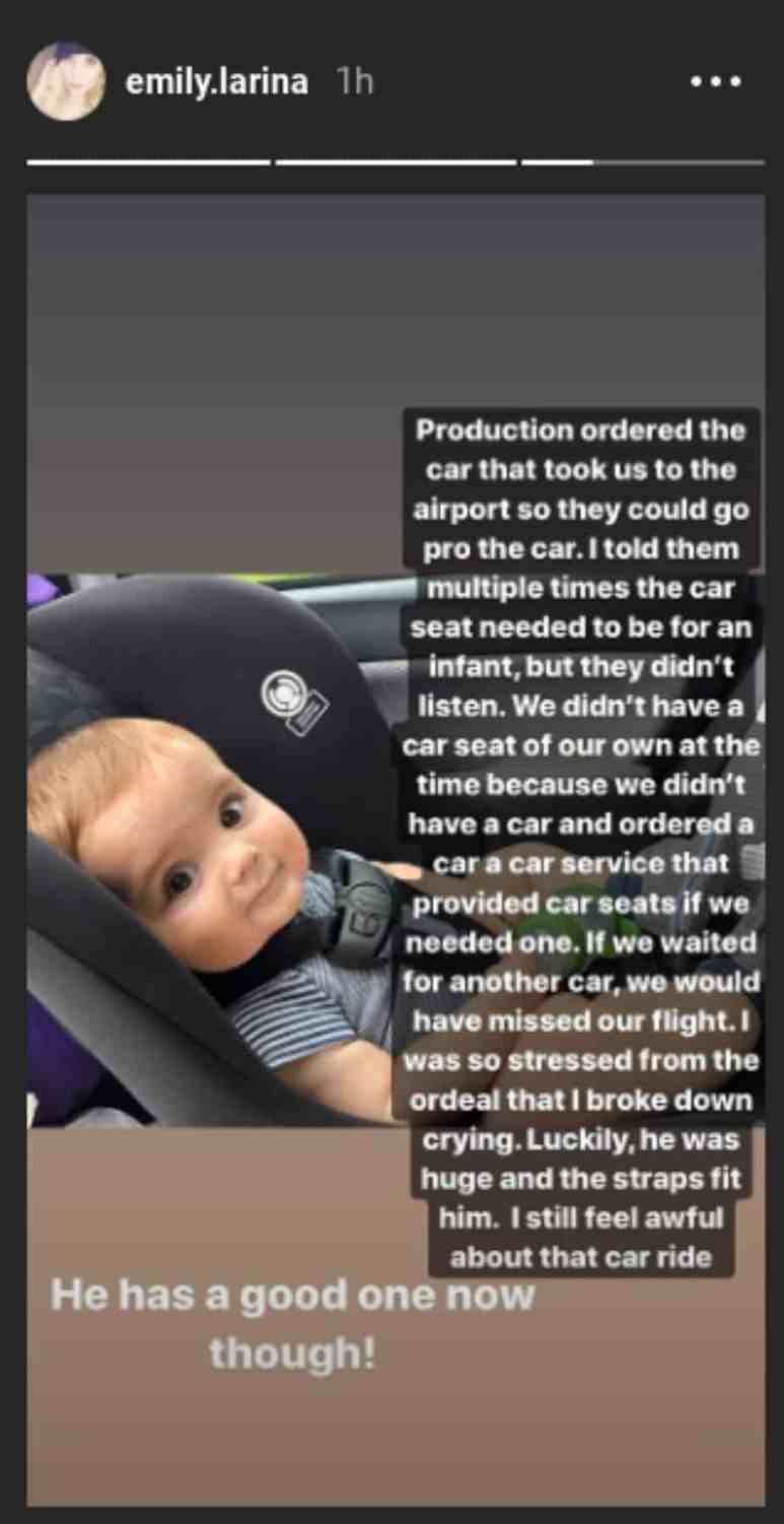 Emily shared a post on Instagram about a bad car seat situation