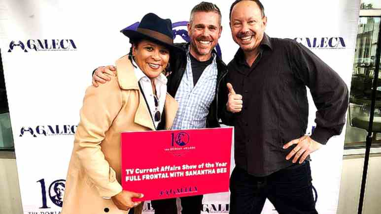 L-R) GALECA Advisory Board member/TBS executive Wadooah Wali, GALECA Advisory Board Member/Director of Entertainment Media at GLAAD Jeremy Blacklow and ED John Griffiths at last year's Dorian Awards Winners Toast.