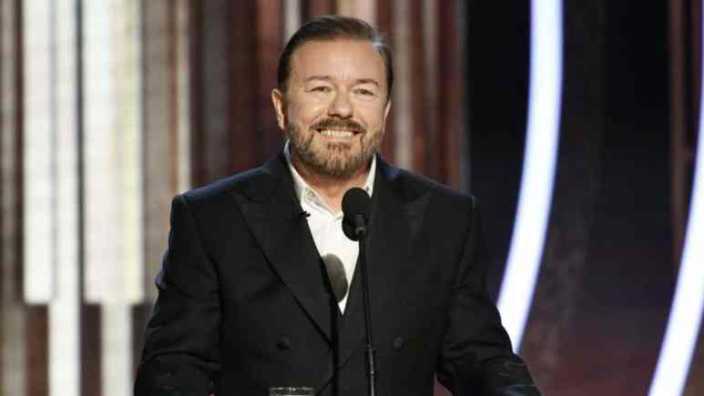 Ricky Gervais at the 77th annual Golden Globes