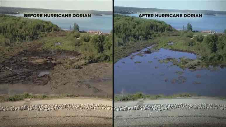 Before and after photo of the affects of storm on the swamp