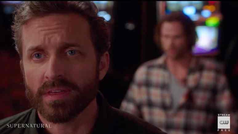 Rob Benedict as Chuck/God harasses Jared Padalecki's Sam in Supernatural season 15. Pic credit: The CW