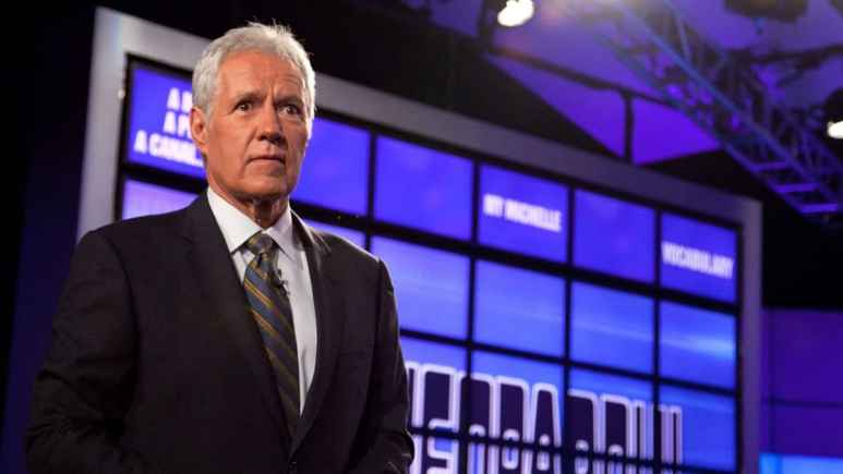 "Alex Trebek: ""I hope I have been an influence for good,"" speaking live from the TCA in Pasadena, Pic credit: ABC."