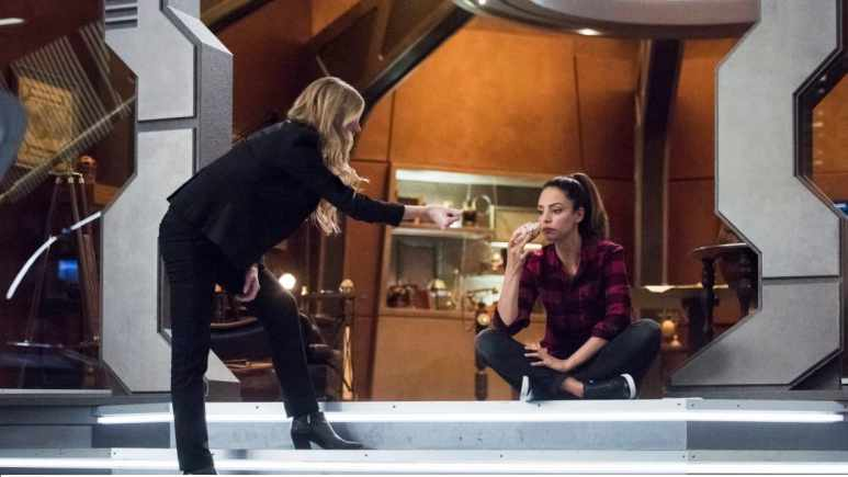 Jes Macallan as Ava Sharpe and Tala Ashe as Zari.