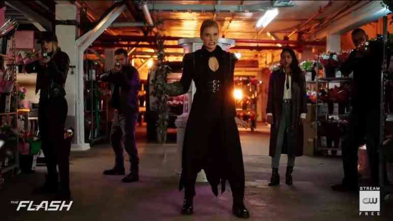 Amunet and her gang guard over Iris on The Flash, but as ally or prisoner? Pic credit: The CW